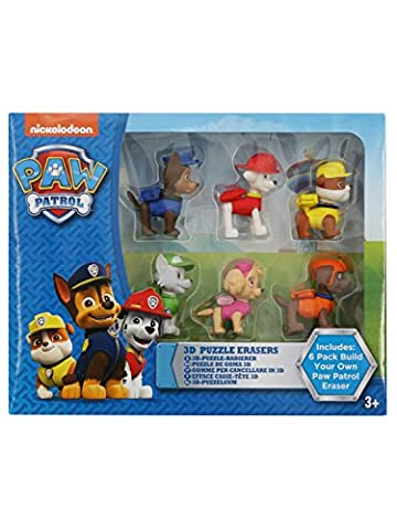 Paw Patrol Skye Rubble Chase And Marshall Character Build Your Own Erasers - 6 Pack Multicolour One