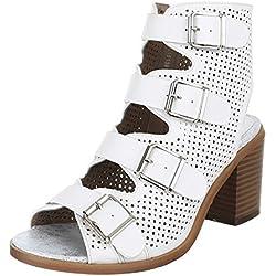 Damen Schuhe, BJ15138, PUMPS, PEEP TOE SANDALETTEN, Synthetik in hochwertiger Lederoptik , Weiß, Gr 39