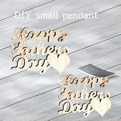 10 Stücke Holz DIY Kleine Anhänger Glücklich Vatertag Wörter Ornamente Dekorationen DIY Zubehör für Vatertag Geschenke