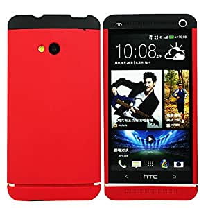 Heartly Double Dip Hard Shell Premium Back Case Cover For HTC One M7 Single Sim - Black Red Red