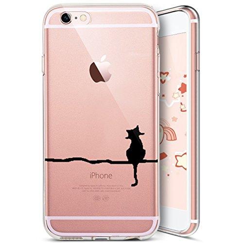 iPhone 6S Plus Custodia Silicone, iPhone 6 Plus Cover Trasparente, JAWSEU Gatto Carino Creativo Disegno Protectiva Bumper Cristallo Chiaro Custodia Cover per Apple iPhone 6 Plus/6S Plus Case Caso Lumi Gatto carino #2