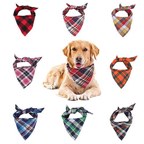 VIPITH Bandana para Perro, Paquete de 8 pañuelos de Cuadros, pañuelo Lavable, Reversible, Ajustable, triángulo, Bufanda para Perro, Pajarita para Mascotas y Gatos (Color al Azar)