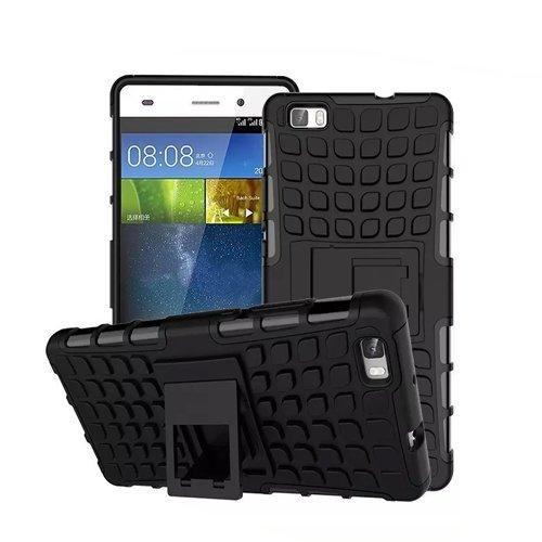 Huawei P8 Lite / Dual-SIM Outdoor Handy Tasche Schwarz Hybrid Case Schutz Hülle Panzer TPU Silikon Hard Cover Bumper   betterfon