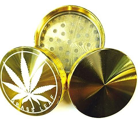 E-FAST GOLD HERB GRINDER GRASS LEAF METAL MAGNETIC POLLINATOR 3 PART CRUSHER (3 PART (50 MM))