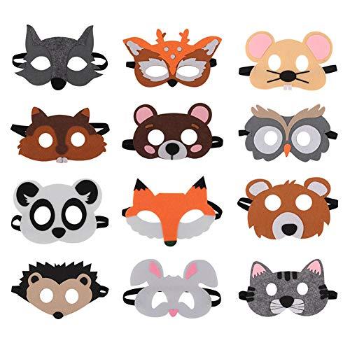 Filzmasken, 12 Stück Comic Party Supplies Anime Charakter Maske Cartoon halbe Gesichtsmaske für Kinder (Alte Comic Charakter Kostüm)