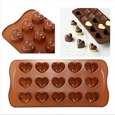 Mini Moules Silicone Chocolat Forme Coeur & Friandise - Marron, Forme coeur