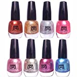 #7: Makeup Mania Premium Nail Polish - Combo of 8 Unique Glitter Nail Paint - Golden Brown, Pearl & Shimmery Silver, Purple, Metallic Blue, Shining Pink - 12 ml each bottle (MM# 11-43)