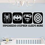 Superheld Schlafplätze Jungen Schlafzimmer einen persönlichen Quote Wall Kunst-Aufkleber-Abziehbilder Vinyl Schlafzimmer Jungen Kinder Erwachsene Heim Zitate Küche Badezimmer Wandaufkleber