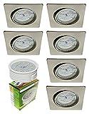 Trango 6er Set LED Einbaustrahler/Deckenstrahler / Einbauleuchten TG6729-062SMD in Eckig Edelstahl-Look incl. 6x LED Modul dimmbar nur 3cm Einbautiefe direkt 230 Volt