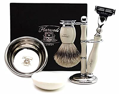 Pure Sliver Tip Badger Hair Brush In Ivory colour. Set includes Gillette Match 3 Razor, Black Brush & Razor Holder, Saving Bowl & FREE SOAP. Special Edition.