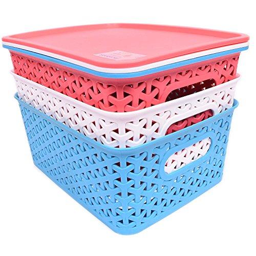 Virgin Storage Boxes Premium Quality plastic Set Of 3 Rattan Fashion Storage Box With Lid-Flexible 3 Assorted Colors Organizing Storage Baskets by Oheligo {19X25X10CM}