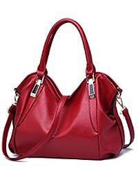 Mrs Duberess Women's Pu Leather Totes Top Handle Bags Ladies Satchel Handbag Shoulder Handbags - Red