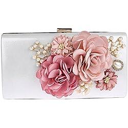 Bolso de Mano Blanco con detalles de flores rosas