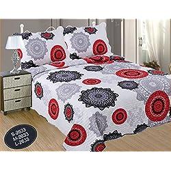 ForenTex- Colcha bouti reversible, (X-2633), cama 160 cm y 180 cm, 270 x 260 cm, Estampada cosida, Mandalas Rojo y Negro, colcha barata, set de cama, ropa de cama. Por cada 2 colchas o mantas paga solo un envío (o colcha y manta), descuento equivalente antes de finalizar la compra.
