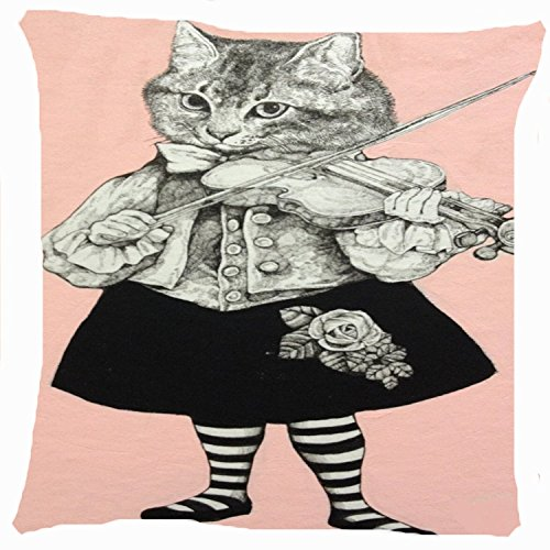 Cushion cover throw pillow case/Copricuscini e federe 18 inch retro vintage cat girl flower skirt play violin music musician cute kitty both sides image zipper