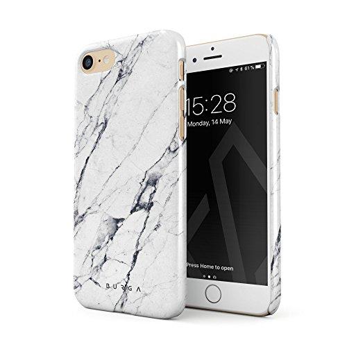 BURGA Hülle Kompatibel mit iPhone 7 / iPhone 8 Handy Huelle Licht Weiß Marmor Muster White Marble Mädchen Dünn, Robuste Rückschale aus Kunststoff Handyhülle Schutz Case Cover