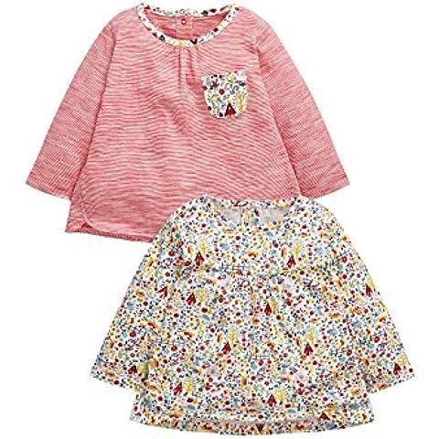 next Bebés Niñas Camisetas Manga Larga Raya Y Estampado Rojo Paquete De 2 (0 Meses-2 Años)