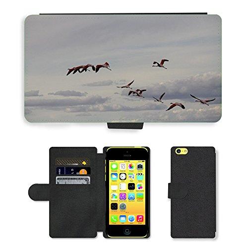 Just Mobile pour Hot Style Téléphone portable étui portefeuille en cuir PU avec fente pour carte//m00139863Oiseaux Flamingo Fly plumes//Apple iPhone 5C