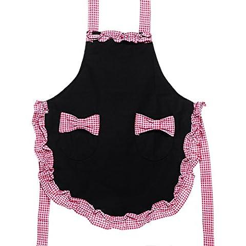Bibs & Blyax (TM)-Panno per ruttino Plaid per bambine &-Grembiule da donna, in tela, colore: nero, Rosso, sostitutiva potenziata & White Plaid, 150 x 68 cm