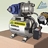 HAUSWASSERWERK HAUSWASSERAUTOMAT PUMPE mit DRUCKSCHALTER JETPUMPE SS-600-3 / SS-1200-1 KREISELPUMPE EDELSTAHLPUMPE EDELSTAHLKESSEL mit integr. thermischem Motorschutzschalter und Manometer als GARTENPUMPE REGENWASSERPUMPE bei ZISTERNE REGENWASSERTANK ERDTANK (Hauswasserwerk-SS-1200)