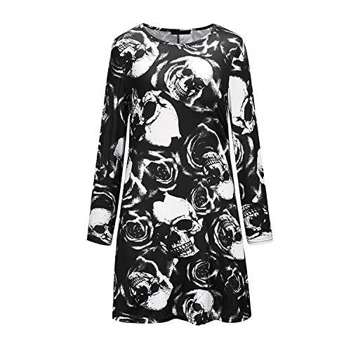 Braut Dress Gothic Kostüm Fancy Halloween - Lisli Halloween Kostüm Halloween Shirtkleid Damen Rundhals Langarm Skelett Blumen Gedruckt PulloverKleid Feierlich Herbst Frühling