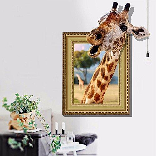 kuamai Wall Sticker Giraffe 3D'S Foto Aufkleber Kreative Wand Aufkleber Kinderzimmer Dress Up (Up Giraffe Dress)
