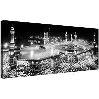 Grande toile avec impression noir et blanc de pèlerinage musulman à la Mecque / Hajj Kaaba