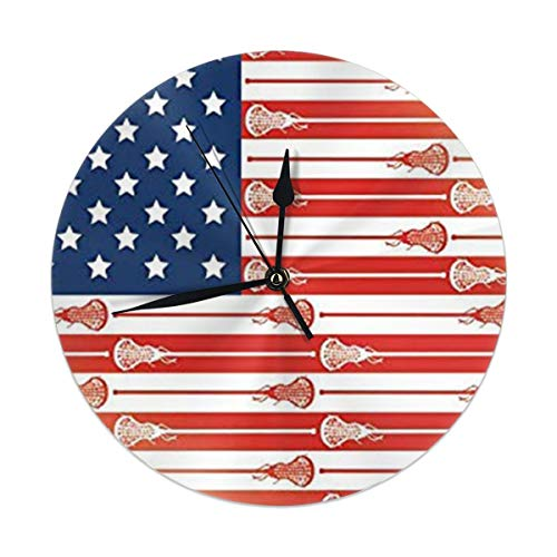 best gift Wall Clock,USA Lacrosse Sticks Flag Silent Non Ticking 9.84 Inch Battery Operated Round Easy to Read Home,Office,School Clock (Lacrosse-batterie)