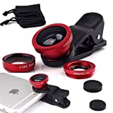 I-Sonite (rot Handy-Universal-Kameraobjektiv 3 in 1 Kit Weitwinkel + Fisheye + Makroobjektiv für Denver TAQ 10122 25.65 cm 10