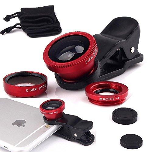 I-Sonite (rot Handy-Universal-Kameraobjektiv 3 in 1 Kit Weitwinkel + Fisheye + Makroobjektiv für Verizon Ellipsis Kids Zoom Verizon Wireless