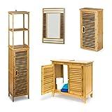 4 teilige Badezimmer-Einrichtung, aus Bambus, Waschbeckenunterschrank, Badezimmerschrank, Badregal, Spiegel