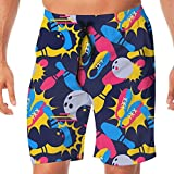 VVIANS Mens Summer Bowling Balls Colors Art Quick Dry Volleyball Beach Shorts Board Shorts Medium