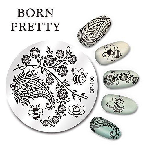 Born Pretty 1 Planche 5.5cm Nail Art Plaque de Stamping Ronde Moitif d'Abeille Arabesque BP-100