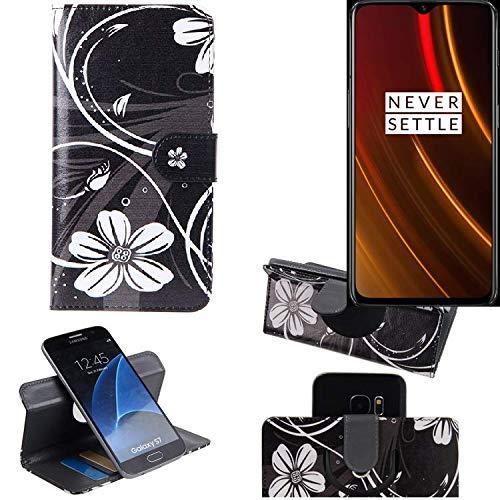 K-S-Trade® Schutzhülle Für OnePlus 6T McLaren Edition Hülle 360° Wallet Case Schutz Hülle ''Flowers'' Smartphone Flip Cover Flipstyle Tasche Handyhülle Schwarz-weiß 1x