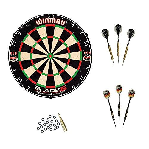 Winmau Blade 5 Dartboard mit Michael van Gerwen Darts und McDart Steeldarts