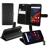 Emartbuy® Wileyfox Swift 4G Dual Sim Brieftaschen Brieftasche Etui Hülle Case Cover aus PU Leder Schwarz mit Kreditkartenfächern