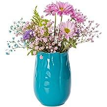 Cerámica Jarrón Azul ø11 cm * H15.5 cm Flores Flores Jarrón de cerámica Jarrón