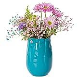 Home&Decorations Keramikvase Blau Ø11cm * H15.5cm Blumenvase Tischvase Blumen Vase Keramik Dekovase