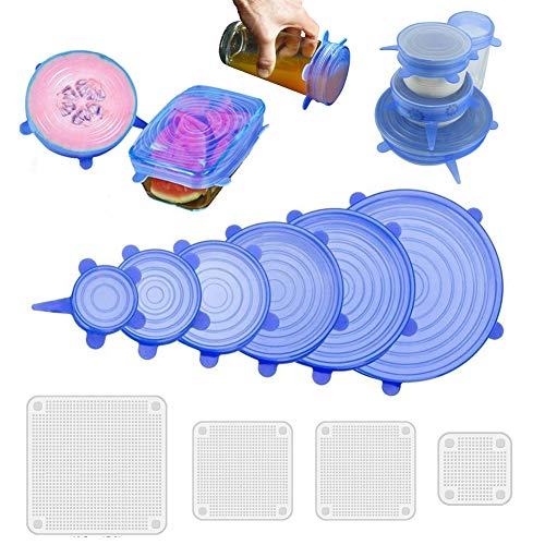 442daa03618 NEEGO Tapas De Silicona EláSticas 10 Paquetes De Varios TamañOs De Silicona  Cubiertas Reutilizable Para Tazones