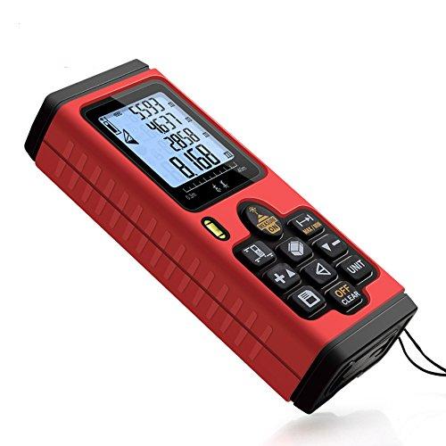 Dongmei Digital Laser Entfernungsmesser Genauigkeit Innerhalb 1mm Laser Distanz Meter optisches Band Pythagoreischen Modus, Bereich & Volumen Berechnung Wasserdicht und staubdicht (DC 100) Messbereich: 328 ft / 100m (Digitale Laser-maßband)