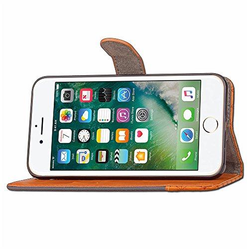 iPhone 7 Plus (5.5 pouce) Coque , PU Cuir Étui PRougeection Wallet Housse la Haute Qualité Pochette Anti-rayures Couverture Bumper Magnétique Antichoc Case Anfire Cover pour iPhone 7 Plus - Bleu Noir