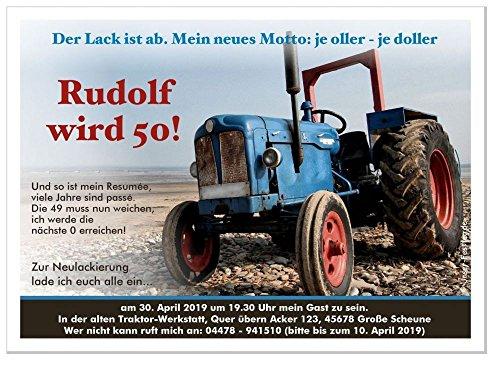 40 DIN A5 Geburtstagseinladungen runder Geburtstag lustig 50 60 70, für jedes Jahr möglich - mit Spruch - alter Traktor Trecker