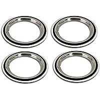 Cerchione Ring Set + Anelli da parete bianco nero/bianco 16pollici–Universale, adatto autovetture. auto d' epoca,