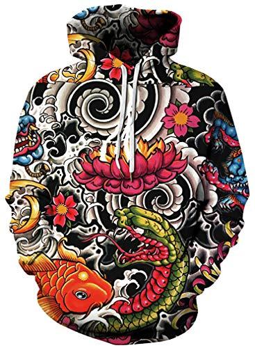 Ocean Plus Herren Kapuzenpullover Vielfältig 3D Kapuzenpullover Wolf Löwe Druck Hoodie Sweatshirt Fantasie Pullover (L/XL (Brustumfang: 114-134CM), Lotus Koi)