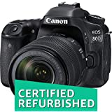 (Certified REFURBISHED) Canon EOS 80D 24.2MP Digital SLR Camera (Black) with EF-S 18-135mm f/3.5-5.6 Image Stabilization USM Lens Kit and 8GB Memory Card
