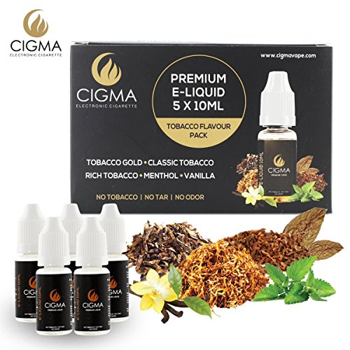 CIGMA 5 X 10ml E Liquid | Klassik Tabak | Gold Tabak | Rich-Tabak | Menthol | Vanille | Neue Formel für ein starkes Geschmack mit nur hochwertige Zutaten | Für elektronische Zigaretten und E Shisha hergestellt.