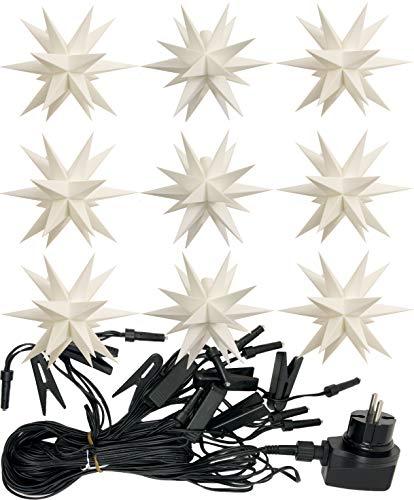 3D LED 9er Sternenkette für innen & außen Stern Adventsstern Weihnachtsstern Neuheit (weiß)