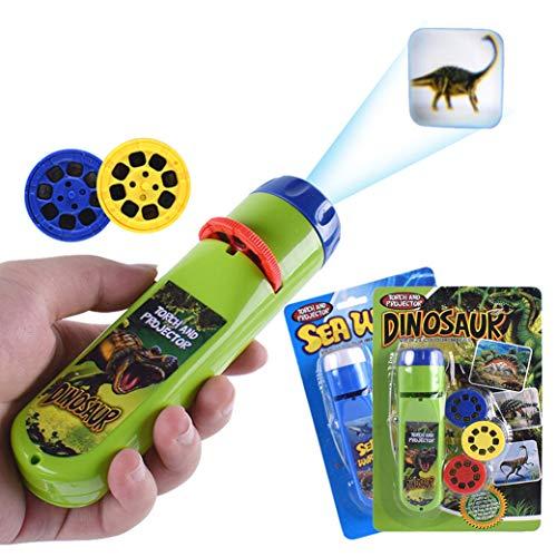 Yeelan Projektor Taschenlampe Projektionslicht Kleine Lampe Pädagogisches Lernen Schlafenszeit Nachtlicht für Kinde, Kleinkinder, Kinder (48 Bilder, 2er-Set, Dinosaurier + Sea World)