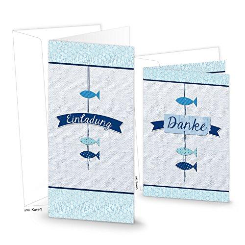 Karten-Set: 5 Einladungskarten + 5 Dankeskarten blau weiß türkis navy maritim 3 FISCHE - Einladung und Danke ideal zur Kommunion Taufe Geburtstag Firmung Anglerfeste und Fischliebhaber!