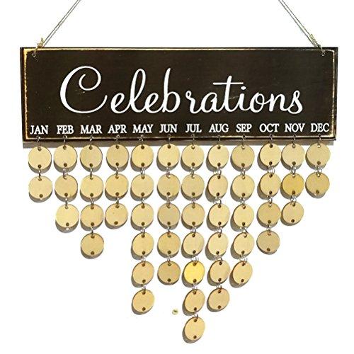 ROSENICE Immerwährender Geburtstagskalender Holz DIY Kalender Geschenk für Haus Party Dekoration